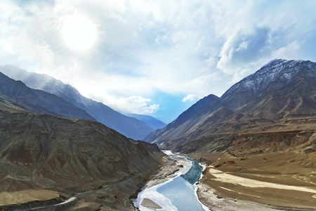 Zanskar mountain river in the Himalayas photo