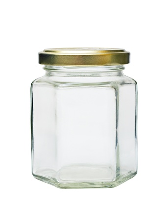 an empty glass jar with metal lid isolated on white background Stock Photo