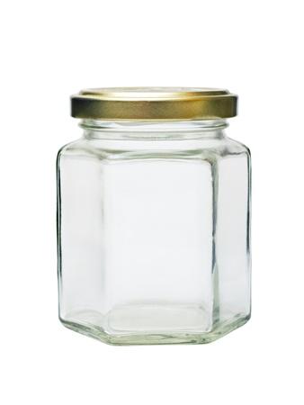 Een lege glazen pot met metalen deksel op een witte achtergrond Stockfoto - 12780551