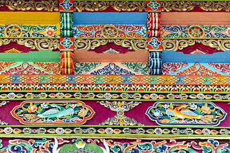 Tibetaanse architectuur decoratieve ornament op de achtergrond Stockfoto