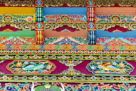 Tibetan architectural decorative ornament in the background