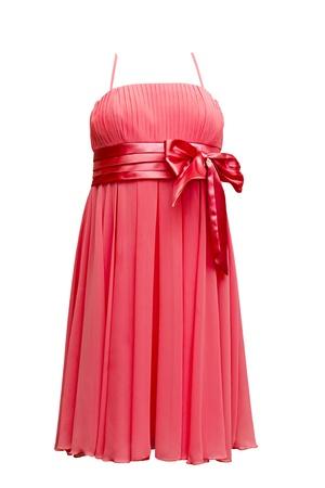 흰색 배경에 고립 된 빨간 이브닝 드레스