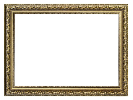 gold-patterned frame for a picture isolated on a white background