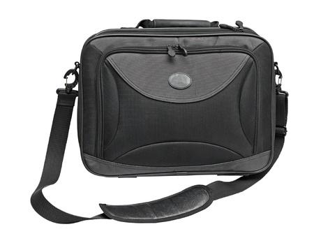 흰색 배경에 고립 된 검은 색 노트북 가방