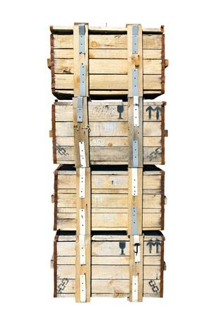 empiler des boîtes en bois de isolé sur fond blanc Banque d'images