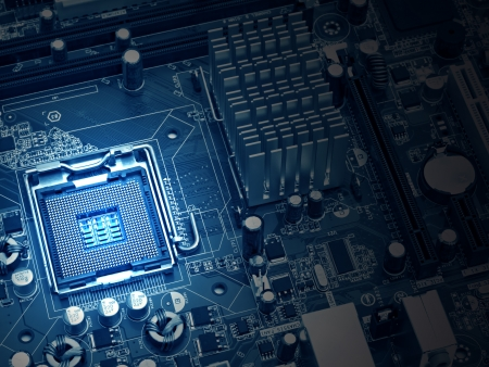 image of the motherboard without a PC processor closeup, Blue tone and light effect photo