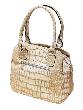 Female beige leather handbag isolated on white background Stock Photo - 13955384