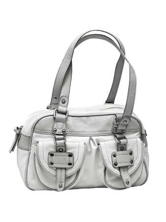 gray and white female bag isolated on white background Stock Photo - 14076564
