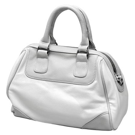 흰색 배경에 고립 된 회색 및 흰색 여성 가방