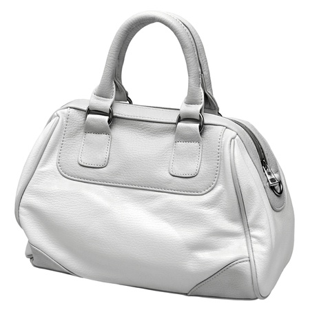 gray and white female bag isolated on white background