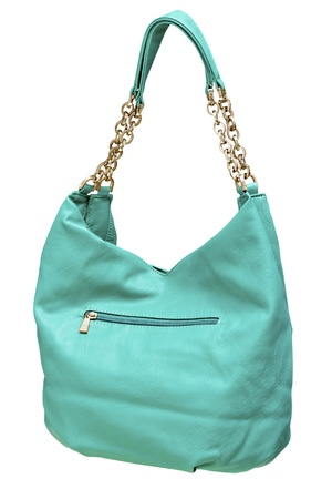 women's leather handbag green color isolated on white background Фото со стока