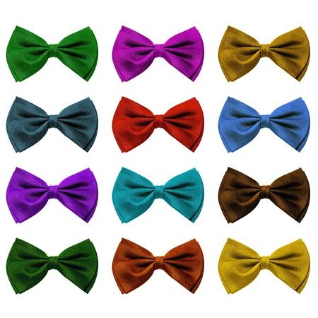 stropdas: een reeks van kleurrijke vlinders Tie geïsoleerd op een witte achtergrond Stockfoto