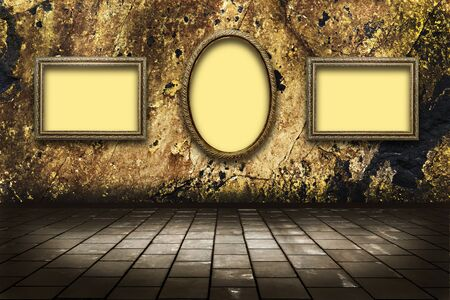 illustration of picture frames on a stone grange background illustration