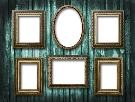 illustration of six picture frames on a wooden background grunge illustration
