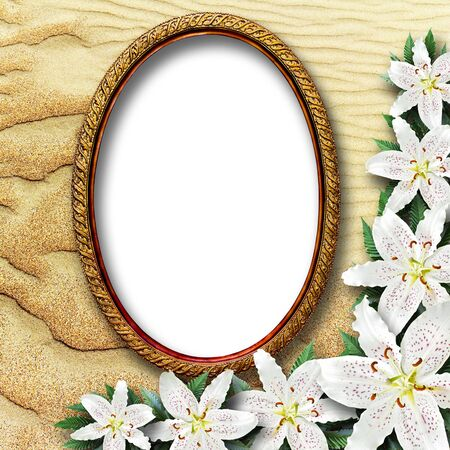 frame for a picture with flowers lilies on a background of sand dunes photo