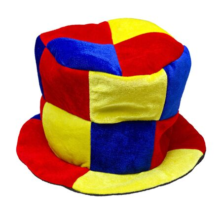jester hat: multi-colored jester hat isolated on white background