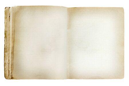revealed: old revealed notebook isolated on white background Stock Photo