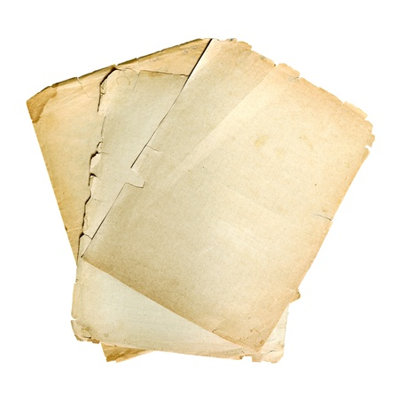 forefathers: old sheet of paper isolated on white background Stock Photo