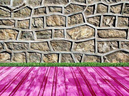room with a stone wall overgrown with grass and wooden floors Stock Photo - 17812888