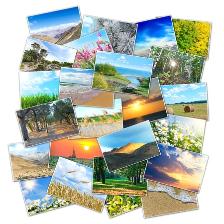 collage of many pictures of nature lying in a heap Stock Photo
