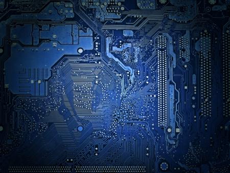 Achterzijde van het moederbord dicht bij de achtergrond, blauwe tint, lichteffect Stockfoto - 18467553
