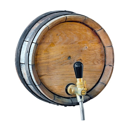 wooden barrel with a tap in the wall of isolated on white background photo