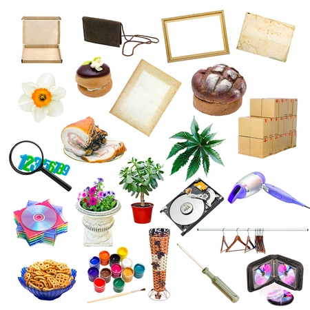 objects: simple collage of isolated objects on white background