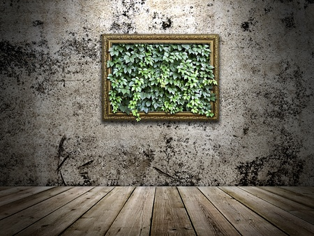 frame on the stone wall with green leaves inside photo