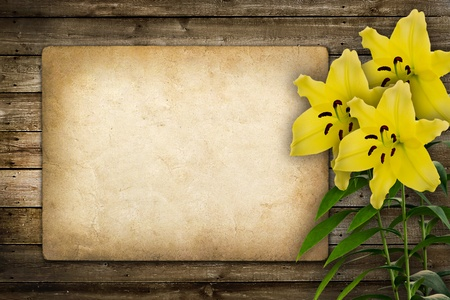 Card for invitation or congratulation with yellow lily flower in vintage style photo