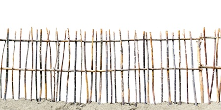 wattle: fence of twigs isolated on white background