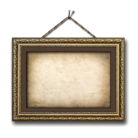 Vintage picture frame on the white isolated background photo