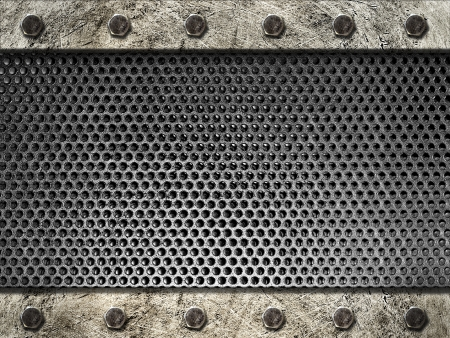 metal grille framed steel strips with bolts