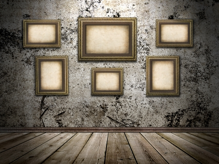 castle interior:  picture frames on a stone grange background Stock Photo