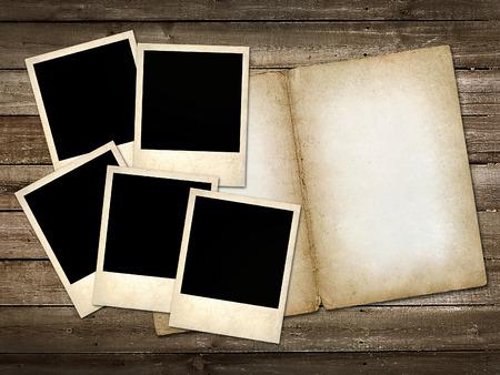 mani Polaroid-style photo on the background of wooden   photo