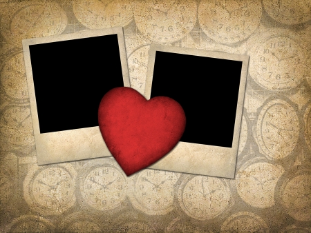 Two old-style photo  with red paper heart  in vintage style photo