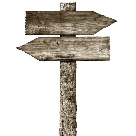 houten wegwijzer die op een witte achtergrond Stockfoto