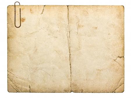 흰색 배경에 고립 된 오래 된 판지 카드