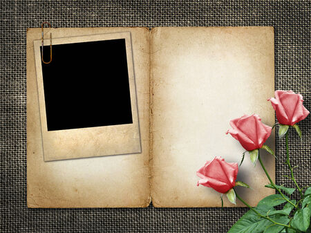 album greetings: Card for invitation or congratulation with pink rose and old photo Stock Photo