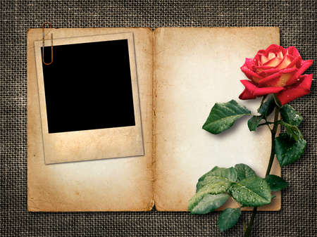 Card for invitation or congratulation with red rose and old photo photo