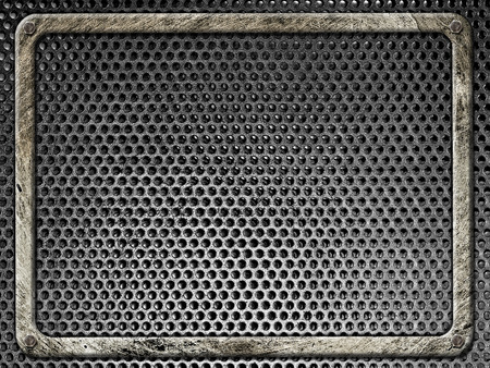 bolted: Steel frame bolted in grunge style on a background of black metal grilles