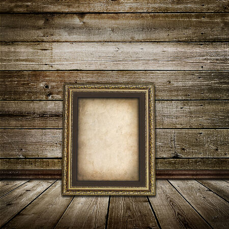wooden floors: vintage  interior of a room with a wooden wall with wooden floors and old frame