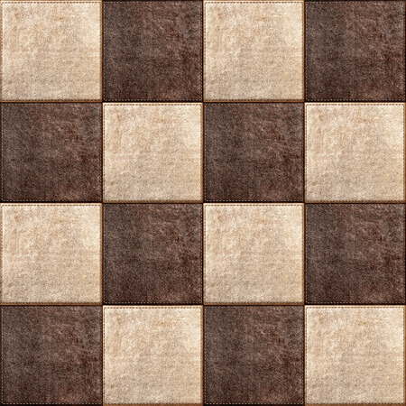 backstitch: Seamless texture combination of leather squares in vintage style