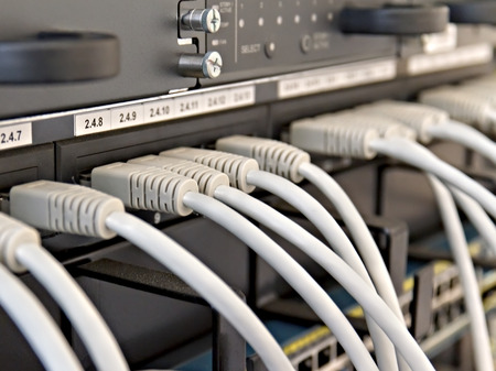 Patch Panel server rack with gray cords photo