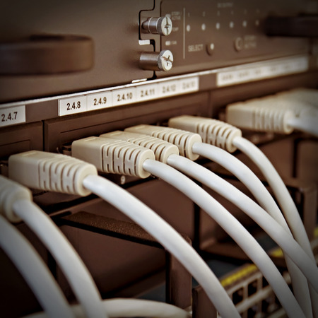 inter: Patch Panel server rack with gray cords