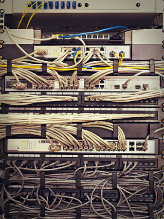 Patch Panel server rack with cords in different colors