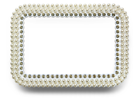 frame for photo with pearls isolated on white background photo