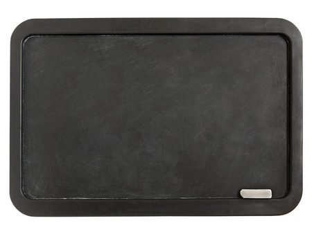 Black plastic whiteboard with chalk isolated on a white background photo