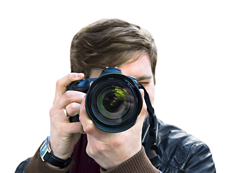 photographer takes a picture. Front view, close-up Stock Photo