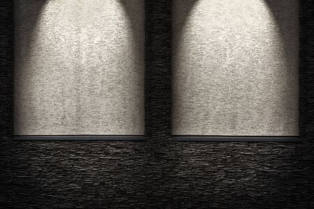 niches: Decorative dark stone wall with lighter niches. light effect Stock Photo