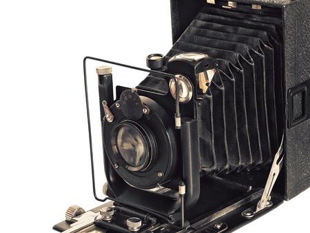 vintage photographic camera isolated on white background
